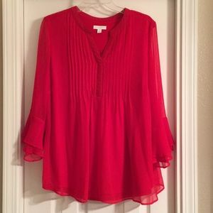 Charter Club NWOT 1X Red Blouse 3/4 Ruffle Sleeve